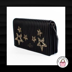 NEW $375 COACH FOLDOVER CHAIN CRYSTAL STAR BLACK